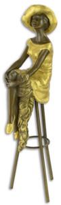 Casa Padrino Luxus Bronzefigur Dame sitzt an der Bar Bronze / Gold 12,9 x 9,1 x H. 28,2 cm - Bronze Skulptur - Dekofigur