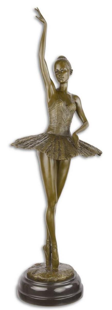 Casa Padrino Luxus Bronze Skulptur mit Marmorsockel Ballerina Bronze / Schwarz 22 x 20,4 x H. 66,5 cm - Bronzefigur - Dekofigur - Deko Accessoires 1