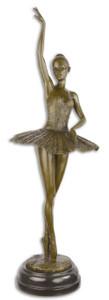 Casa Padrino Luxus Bronze Skulptur mit Marmorsockel Ballerina Bronze / Schwarz 22 x 20,4 x H. 66,5 cm - Bronzefigur - Dekofigur - Deko Accessoires