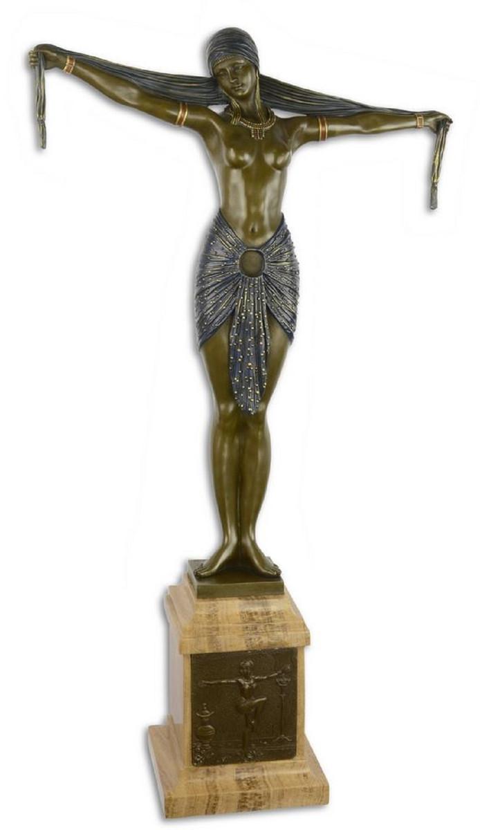 Casa Padrino Luxus Bronze Skulptur Tänzerin mit Schal Bronze / Blau / Beige 46,2 x 18,8 x H. 82,1 cm - Bronzefigur mit Marmorsockel - Dekofigur 1
