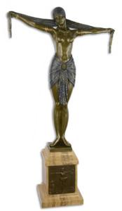 Casa Padrino Luxus Bronze Skulptur Tänzerin mit Schal Bronze / Blau / Beige 46,2 x 18,8 x H. 82,1 cm - Bronzefigur mit Marmorsockel - Dekofigur