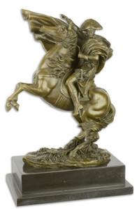 Casa Padrino Luxus Bronze Skulptur Napoleon mit Pferd Bronze / Gold / Schwarz 29,9 x 19,6 x H. 43,5 cm - Bronzefigur mit Marmorsockel - Dekofigur