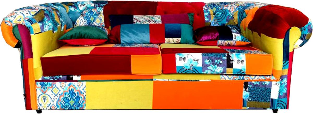 Casa Padrino Chesterfield 3er Sofa Patchwork Bunt - Wohnzimmer Designer Couch 1