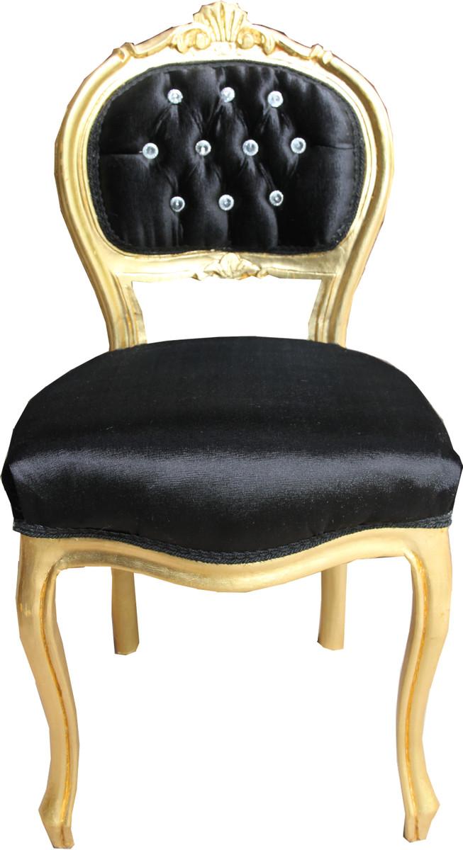 Casa Padrino Barock Damen Stuhl Schwarz / Gold mit Bling Bling Glitzersteinen - Schminktisch Stuhl 1