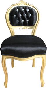 Casa Padrino Barock Damen Stuhl Schwarz / Gold mit Bling Bling Glitzersteinen - Schminktisch Stuhl