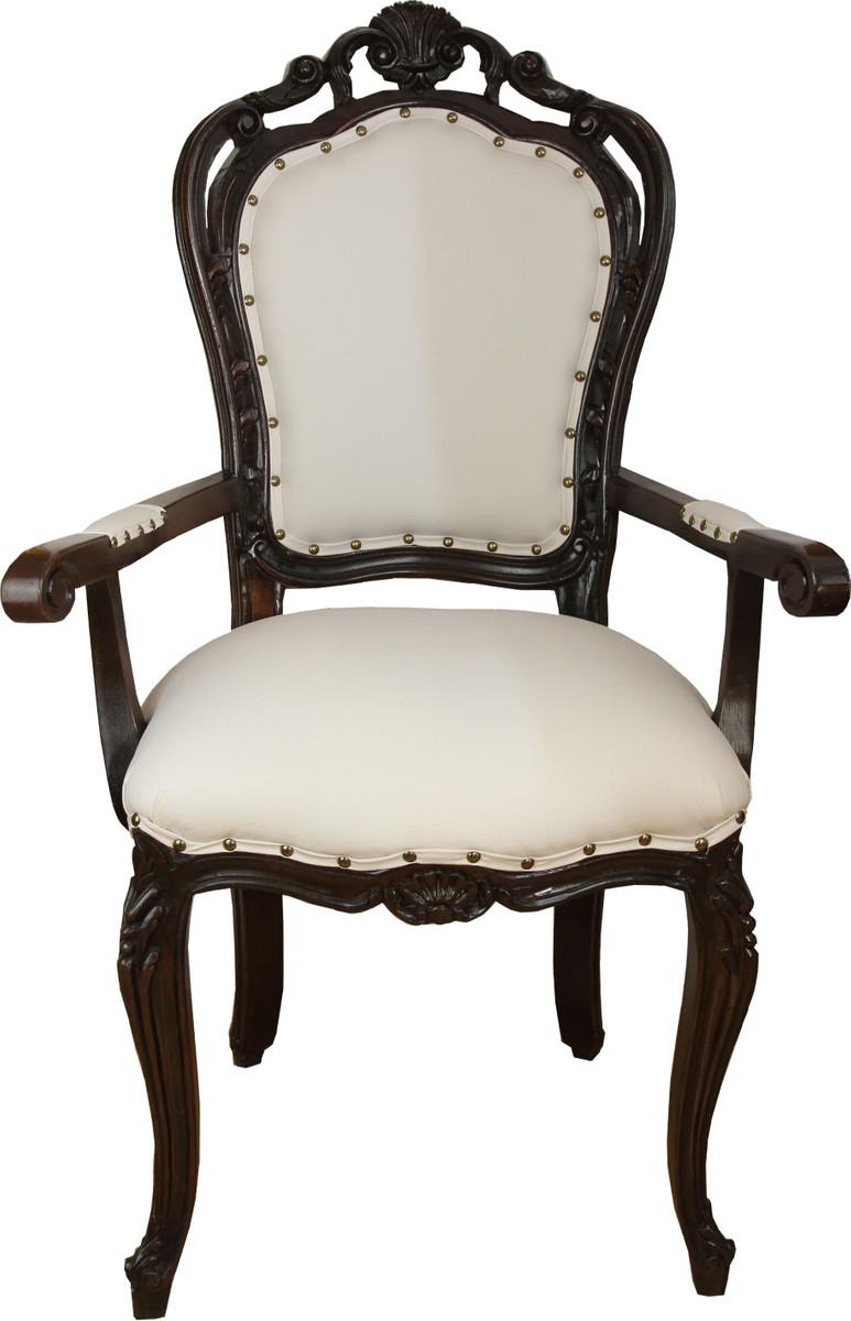 Casa Padrino Luxus Barock Esszimmer Stuhl In Leicht Creme Braun Mit Armlehnen Hotel Barock Stuhl Luxus Qualitat Barockgrosshandel De