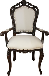 Casa Padrino luxury baroque dining chair in light cream / brown with armrests - Hotel Baroque chair - luxury quality