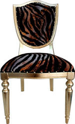 Casa Padrino Art Deco Luxury Dining Chair Leopard / Gold - Luxury Hotel Furniture
