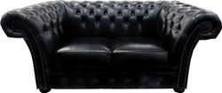 Casa Padrino Luxury Real Leather 2 seater sofa Black 170 x 90 x H. 80 cm - Chesterfield furniture