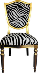 Casa Padrino Art Deco Luxury Dining Chair Zebra / Gold - Luxury Hotel Furniture