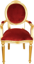 Casa Padrino Baroque luxury dining medallion chair with armrests Bordeaux velvet fabric / gold