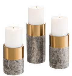 Casa Padrino Luxury Candle Holder Set Gray / Brass - 3 Round Marble Candle Holders - Luxury Quality - Decorative Accessories