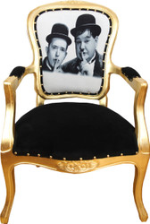 Casa Padrino Baroque Luxury Baroque Salon Chair Laurel & Hardy / Gold
