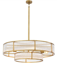 Casa Padrino luxury chandelier antique brass Ø 90 x H. 27 cm - Round Chandelier - Luxury Quality