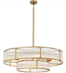 Casa Padrino Luxus Kronleuchter Antik Messingfarben Ø 90 x H. 27 cm - Runder Kronleuchter - Luxus Qualität