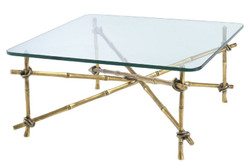 Casa Padrino luxury coffee table vintage brass 70 x 70 x H. 32.5 cm - Brass Coffee Table with Glass Top - Luxury Furniture