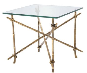 Casa Padrino luxury side table vintage brass 55 x 55 x H. 49.5 cm - Brass Table with Glass Top - Luxury Furniture – Bild 1