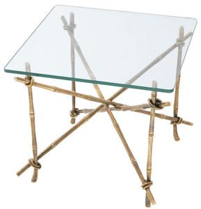 Casa Padrino luxury side table vintage brass 55 x 55 x H. 49.5 cm - Brass Table with Glass Top - Luxury Furniture – Bild 3