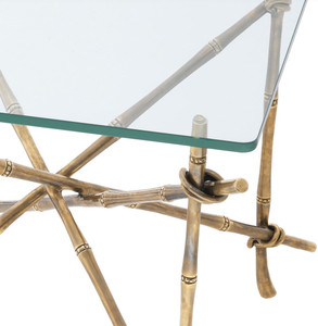 Casa Padrino luxury side table vintage brass 55 x 55 x H. 49.5 cm - Brass Table with Glass Top - Luxury Furniture – Bild 4