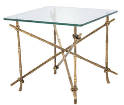 Casa Padrino luxury side table vintage brass 55 x 55 x H. 49.5 cm - Brass Table with Glass Top - Luxury Furniture