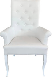 Casa Padrino Chesterfield Neo Baroque Dining Chair White / White Leatherette with Armrests - Baroque Furniture