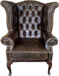 Casa Padrino Genuine Leather Armchair Vintage Brown - Luxury Living Room Wingback Furniture