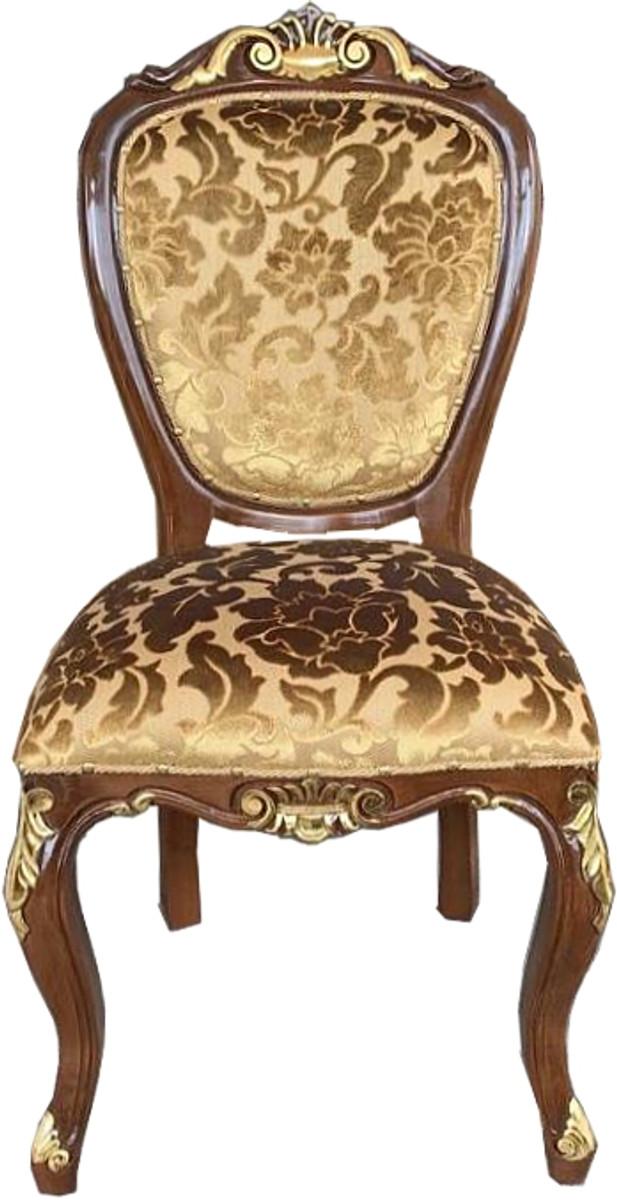 Casa Padrino Barock Luxus Esszimmer Stuhl Gold Muster