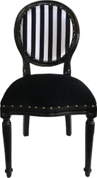 Casa Padrino Luxury Baroque Medallion Dining Chair Black White Stripes / Black - Furniture