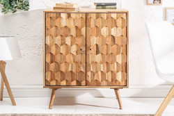 Casa Padrino Designer Bar Cabinet Natural 76 x 46 x H. 89 cm - Modern Solid Wood Bar Cabinet with 2 Doors - Bar Furniture