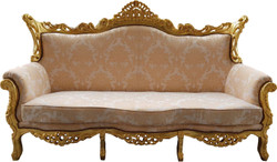 Casa Padrino Baroque 3 seater Cream Pattern / Gold - Living room furniture Coffee Lounge