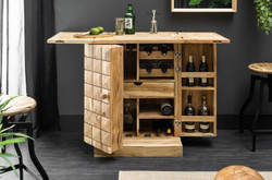 Casa Padrino Designer Bar Cabinet Natural 65-130 x 50 x H. 90 cm - Modern Solid Wood Bar Cabinet with 2 Doors and Drawer - Bar Furniture