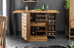 Casa Padrino Designer Bar Cabinet Natural / Brown 65-130 x 50 x H. 90 cm - Modern Solid Wood Bar Cabinet with 2 Doors and Drawer - Bar Furniture
