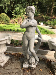 Casa Padrino Art Nouveau Garden Decoration Sculpture / Statue Girl with dolphin antique style gray - stone figure garden sculpture