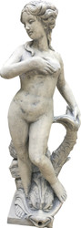 Casa Padrino Jugendstil Gartendeko Skulptur / Statue Mädchen mit Delfin Antikstil Grau - Steinfigur Gartenskulptur