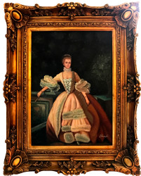 Casa Padrino Baroque Oil Paintings Ladies Portrait Gold Pompous frame 101 x H. 80 cm - Baroque furniture