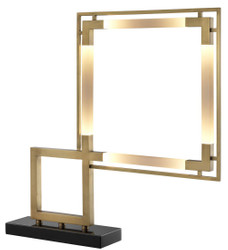 Casa Padrino Luxury LED Table Lamp Antique Brass / Black 69.5 x 11.5 x H. 67.5 cm - Dimmable Designer Table Lamp with Marble Base - Luxury Collection 1