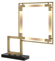 Casa Padrino Luxus LED Tischleuchte Antik Messing / Schwarz 69,5 x 11,5 x H. 67,5 cm - Dimmbare Designer Tischlampe mit Marmorsockel - Luxus Kollektion