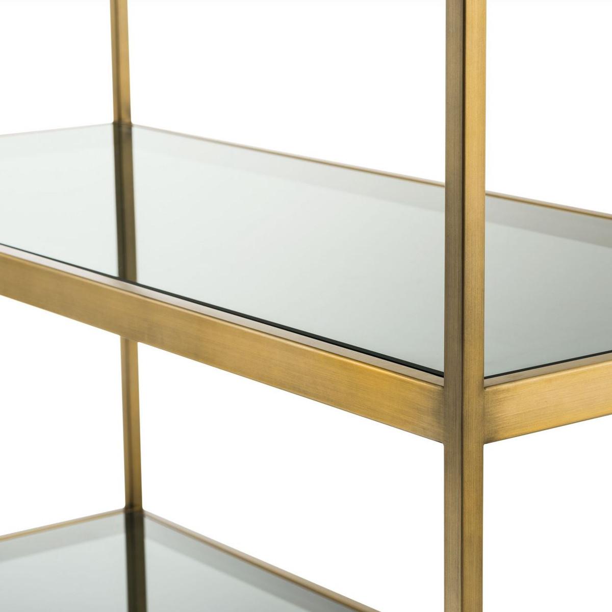 Casa Padrino Luxus Regalschrank Messing Grau 95 X 40 X H 225 Cm