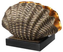 Casa Padrino Luxus Tischleuchte in Muschelform Vintage Messing / Schwarz 33 x 21 x H. 22 cm - Tischlampe mit Granitsockel