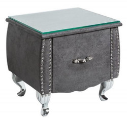 Casa Padrino Art Deco Bedside Table with Drawer and Glass Top Antique Gray / Silver 47 x 41 x H. 45 cm - Bedroom Furniture