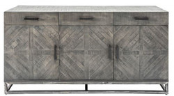 Casa Padrino designer solid wood sideboard gray 160 x 50 x H. 80 cm - TV Cabinet with 3 Doors and 3 Drawers - Living Room Furniture