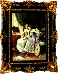 Casa Padrino Baroque Oil Paintings Ladies Portrait Making Music Gold - Black Pompous frame 101 x H. 80 cm - Baroque painting
