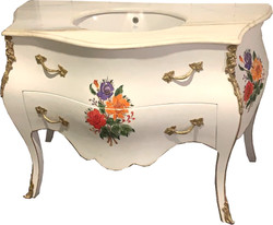Casa Padrino luxury baroque washbasin white / flower painting with marble top - luxury baroque bathroom furniture