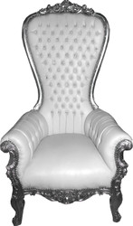 Casa Padrino Baroque Throne Armchair Majestic White / Silver with Bling Bling Rhinestones - Giant Armchair - Throne Chair Tron