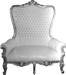 Casa Padrino Baroque Double Throne Armchair Majestic White / Silver with Bling Bling Rhinestones - Giant Armchair - Throne Chair Tron Sofa