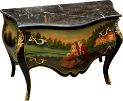 Casa Padrino Baroque chest of drawers black with hand-painted motif / gold 130 cm metal applications and marble top