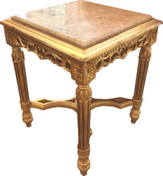 Casa Padrino Baroque Side Table Square Gold with Cream Marble Top 41 x 41 x H 53 cm Antique Style - Telephone Flower Table