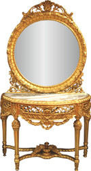 Casa Padrino luxury baroque mirror console with marble top gold 124 x H 220 cm - hotel furniture - mirror console
