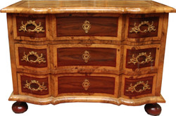Casa Padrino Baroque chest of drawers brown inlaid 127 cm with fine ornaments