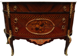 French antique style dresser inlaid brown with white marble top - Baroque furniture